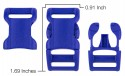 5/8 Inch Royal Blue YKK Contoured Side Release Plastic Buckle - Measurement View