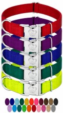 Country Brook Petz Vibrant 25 Color Selection Premium Nylon Dog Collar with Metal Buckle