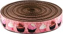 Country Brook Design® 1 Inch Pink Cupcakes Ribbon on Brown Nylon Webbing