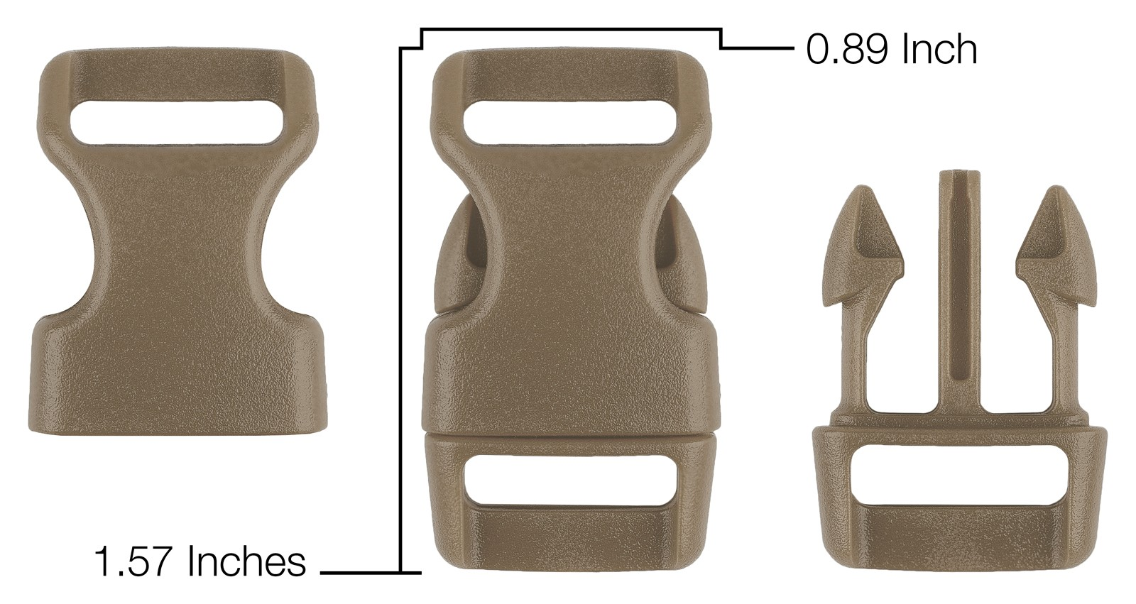 25-5//8 Inch Desert Tan Contoured Side Release Plastic Buckle Closeout