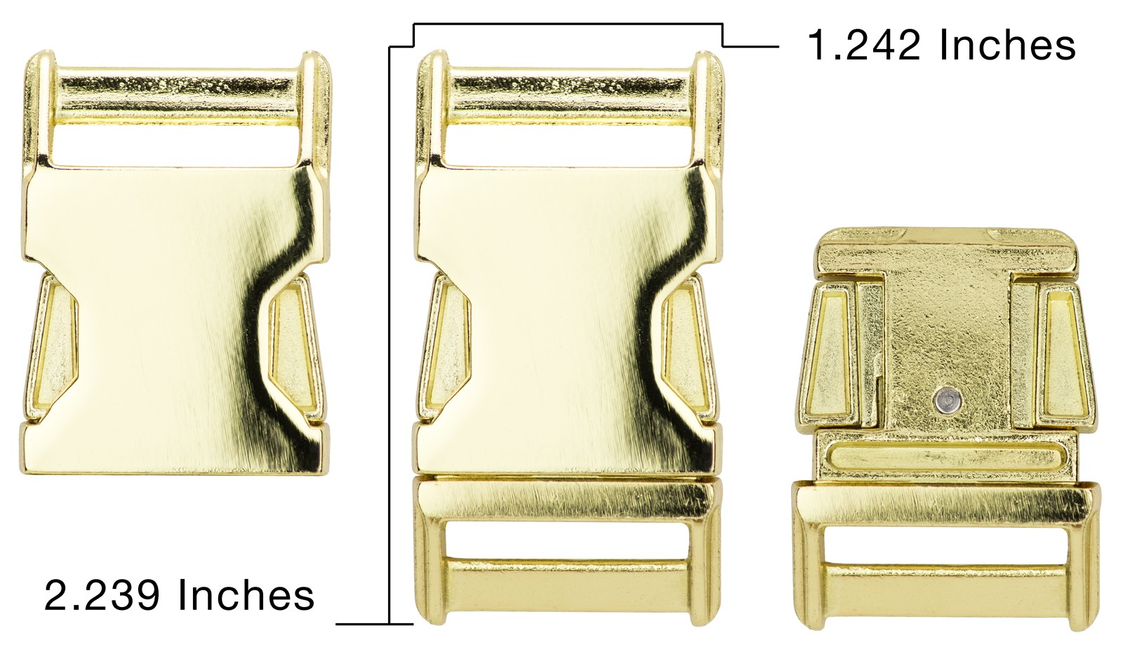 Country Brook Design® 1 Inch Contoured Brass Plated Side Release Buckles 4
