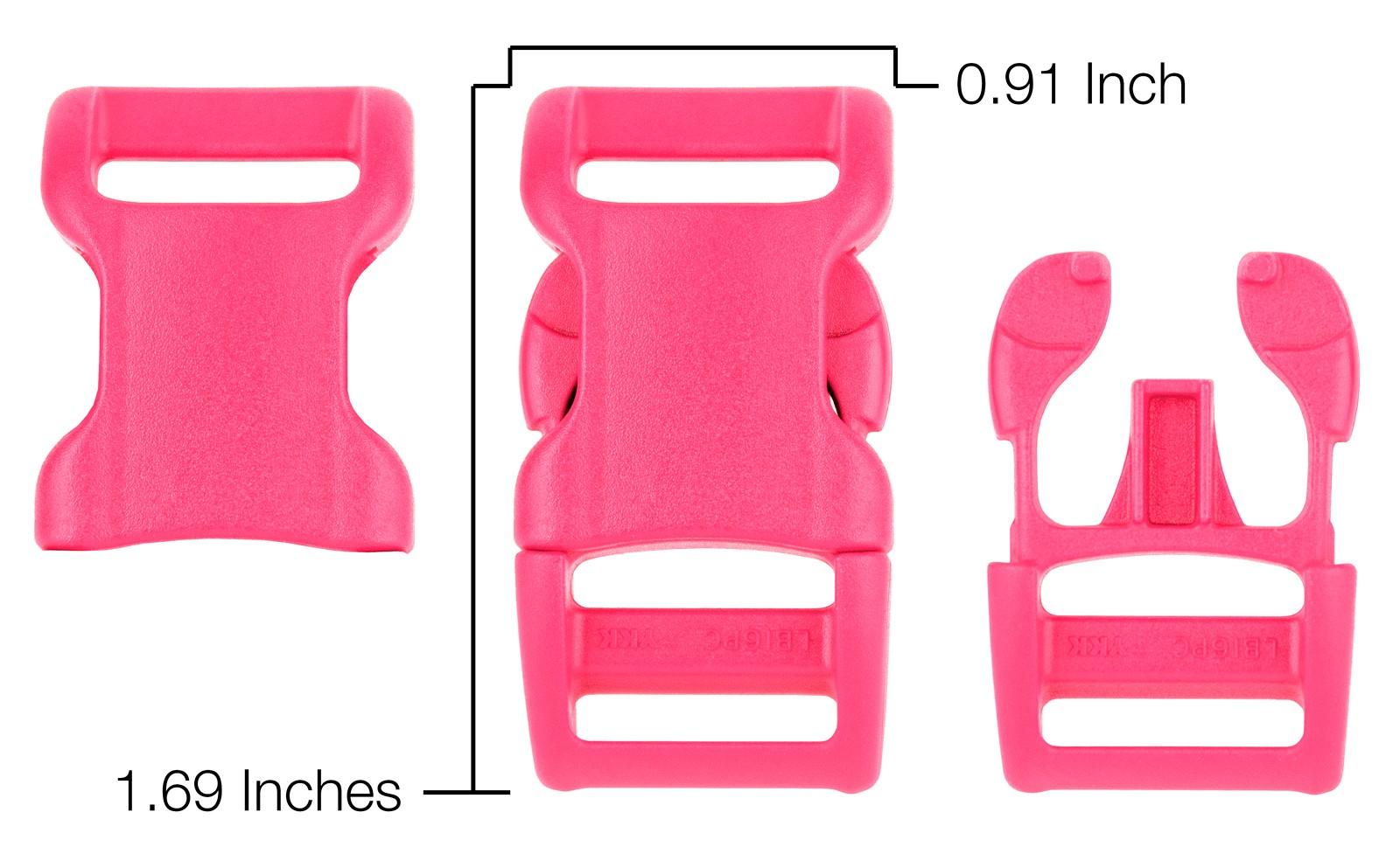 25-1 Inch Pink Contoured Side Release Plastic Buckles YKK