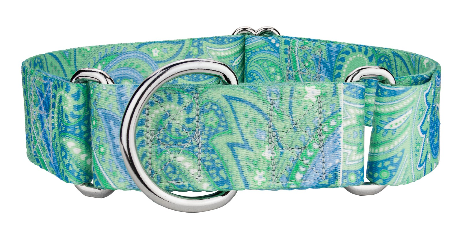 50 1 12 inch green paisley martingale collars
