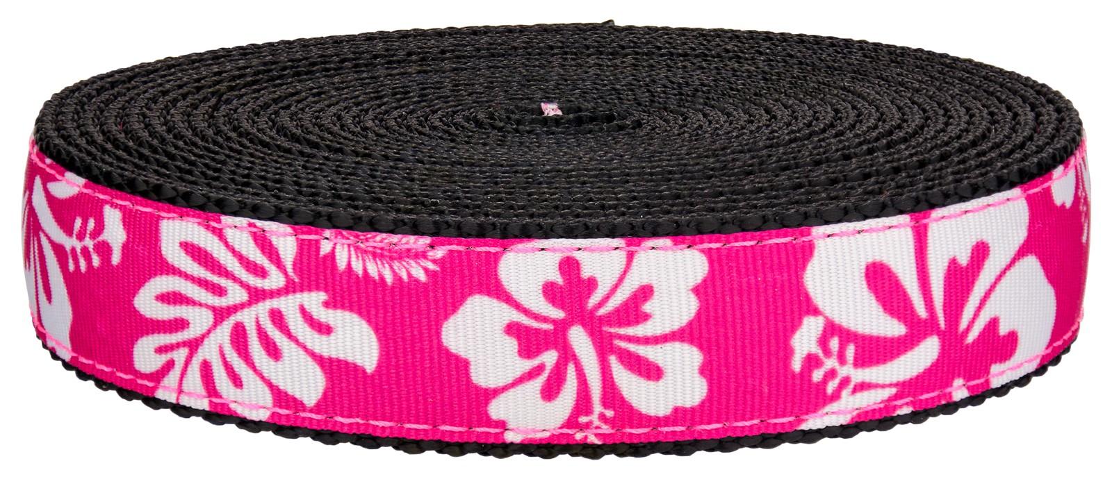 Buy 1 Inch Pink Hawaiian On Black Nylon Webbing Online