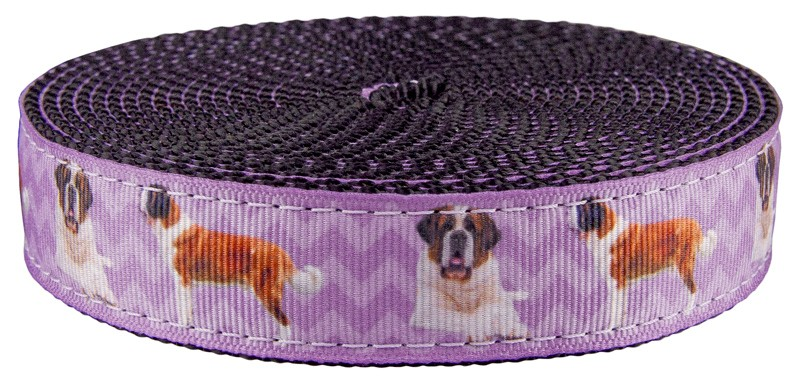 5 Yards Country Brook Design® 1 Inch Border Collie on Black Nylon Webbing