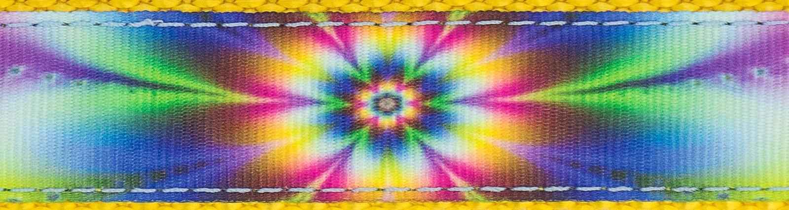 Buy 3 4 inch tie dye flowers on gold nylon webbing online for Order tie dye roses online