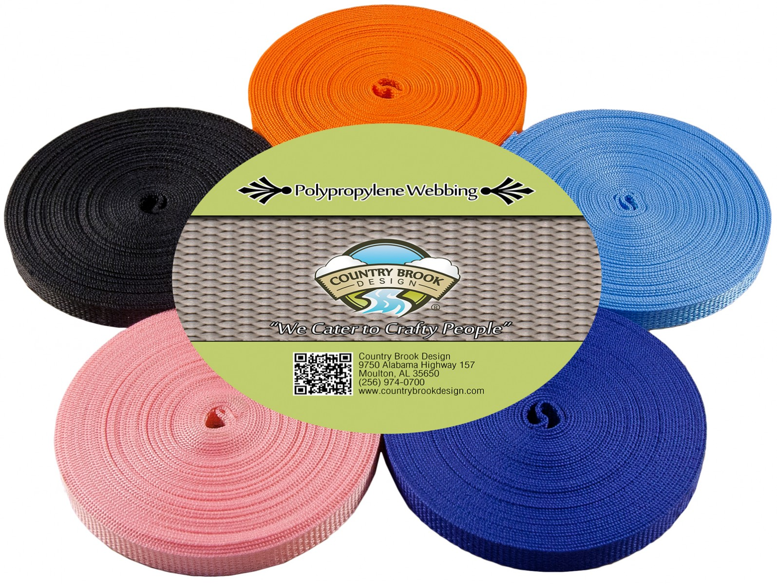 Country Brook Design® 1//2 Inch 10 Yards of 5 Colors Polypro Webbing #2