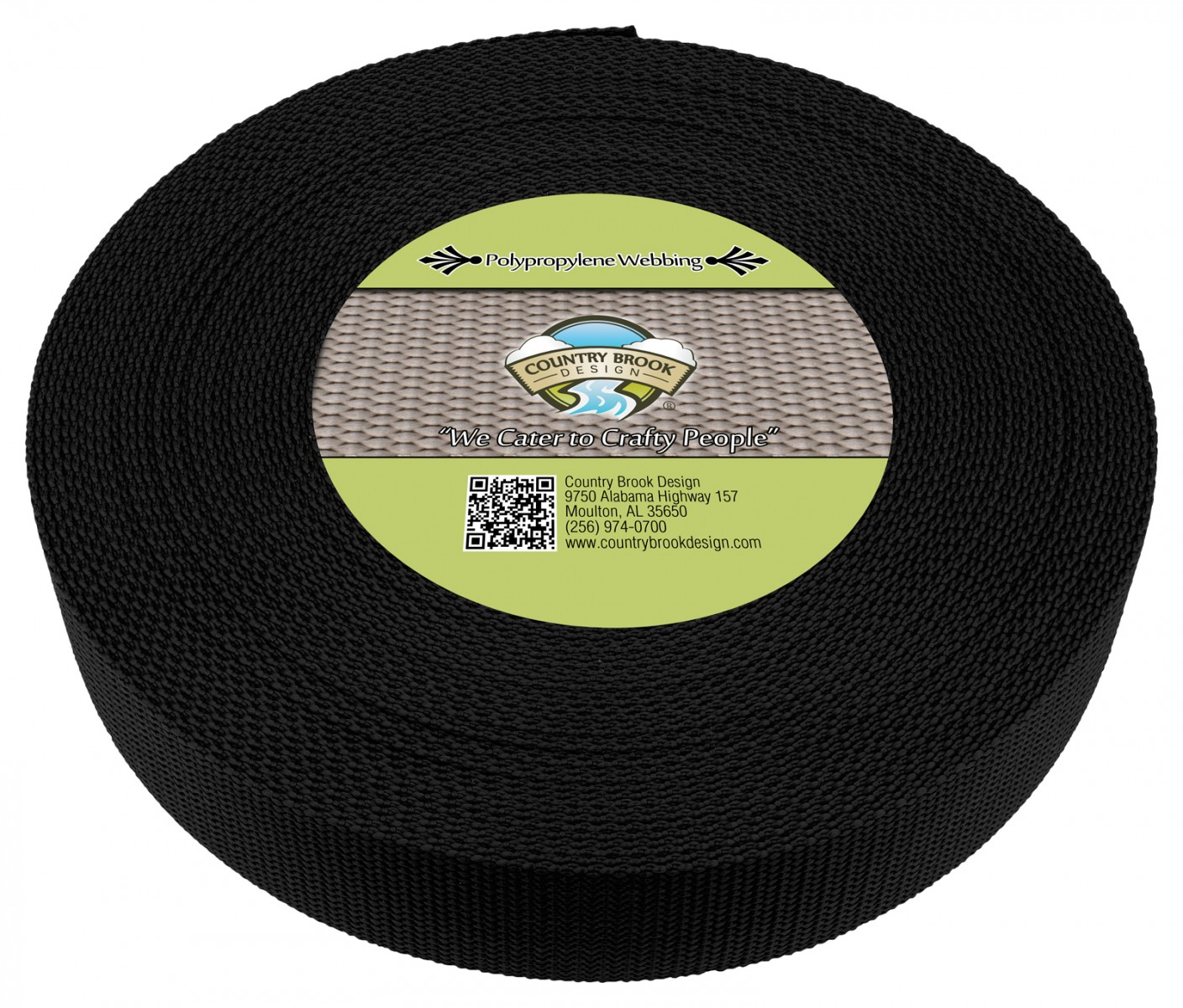 50 Yards Country Brook Design® 1 1//2 Inch White Polypro Webbing