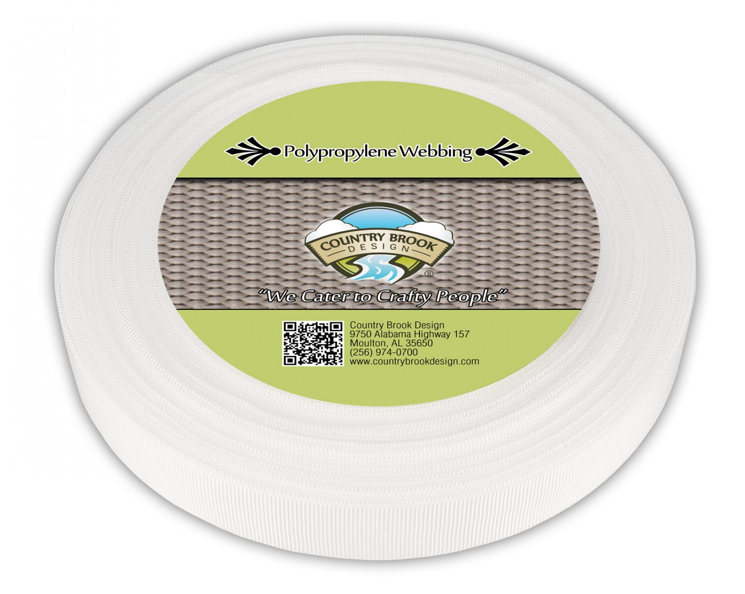 100 Yards Country Brook Design® 3//4 Inch White Polypro Webbing