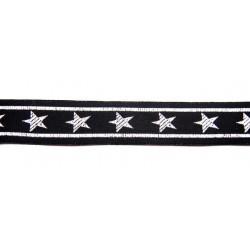15/16 Inch Black with Stars Woven Jacquard Braid Ribbon