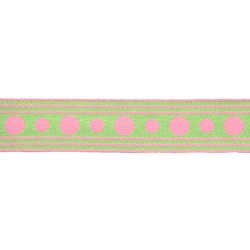 1 Inch Green with Pink Polka Dots Woven Ribbon