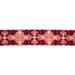 1 Inch Pink & Brown Filigree Woven Ribbon