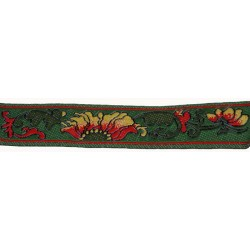 3/4 Inch Fire Flower Woven Jacquard Braid Ribbon