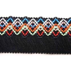 1 1/4 Inch Fringed Woven Jacquard Braid Ribbon