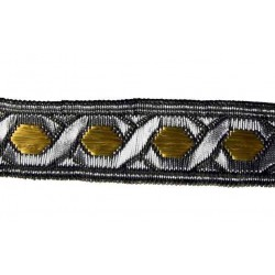 3/4 Inch Silver & Gold Metallic Woven Jacquard Braid Ribbon