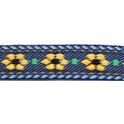 5/8 Inch Blue Jeans Flowers Jacquard Braid Ribbon
