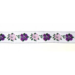 9/16 Inch Purple Flowers Woven Jacquard Braid Ribbon