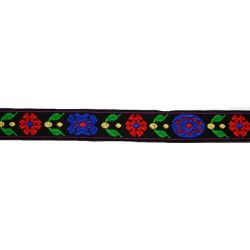 3/4 Inch Red and Blue Flowers Woven Jacquard Braid Ribbon