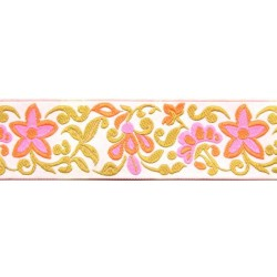 1 1/2 Inch Star Flowers Woven Jacquard Braid Ribbon