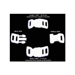 1/2 Inch White Economy Contoured Side Release Plastic Buckles