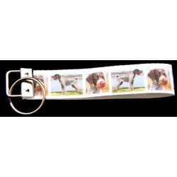German Wirehaired Pointer Dog Ribbon Key Chain Fob
