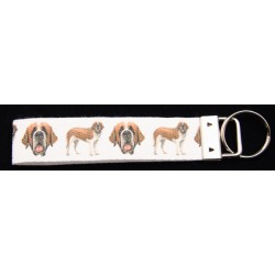 St. Bernards Dog Ribbon Key Chain Fob