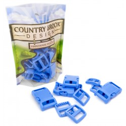 1 Inch Blue Contoured Side Release Buckle & Wide Mouth Triglide Set