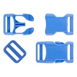 3/4 Inch Blue Contoured Side Release Buckle & Triglide Set