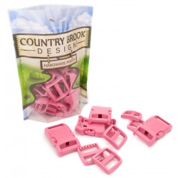 1 Inch Pink Contoured Side Release Buckle & Wide Mouth Triglide Set