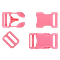 3/4 Inch Pink Contoured Side Release Buckle & Triglide Set