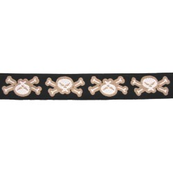 1 Yard 1 1/2 Inch Black Skull & Cross Bones Woven Ribbon