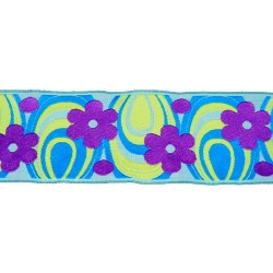 1 15/16 Inch Blue Flower Power Woven Jacquard Braid Ribbon