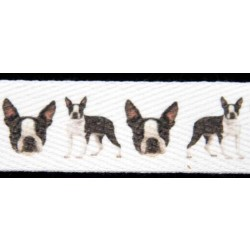 Boston Terrier Cotton Ribbon - Various Lengths & Widths