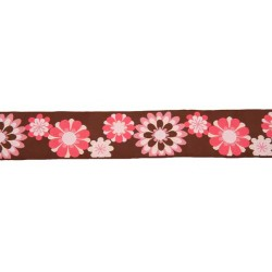 1 1/2 Inch Pink & Brown Floral Woven Ribbon