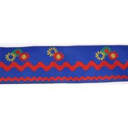 1 7/16 Inch Blue Petal Path Woven Jacquard Braid Ribbon