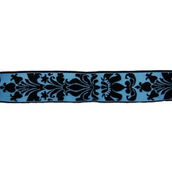 15/16 Inch Blue Rose Royalty Woven Jacquard Braid Ribbon
