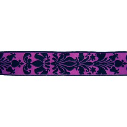 15/16 Inch Purple Rose Royalty Woven Jacquard Braid Ribbon