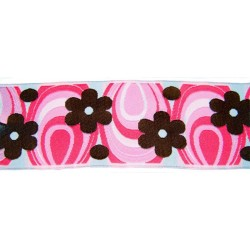 1 15/16 Inch Pink Flower Power Woven Jacquard Braid Ribbon