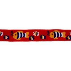 1 1/8 Inch Red Fish Frenzy Woven Jacquard Braid Ribbon