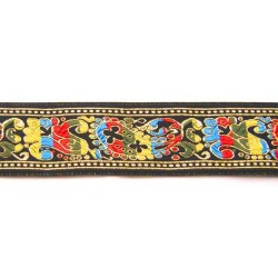 1 1/2 Inch Colorful Paisley Woven Jacquard Braid Ribbon