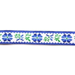 5/8 Inch Blue Flowers Woven Jacquard Braid Ribbon