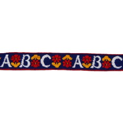 3/4 Inch White ABC's Woven Jacquard Braid Ribbon