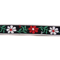 5/8 Inch Red and White Daisies Jacquard Braid Ribbon