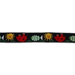 1 Inch Wide Black Aquatic Fun Woven Ribbon