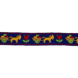 1 1/8 Inch Blue Burro & Cart Woven Jacquard Braid Ribbon