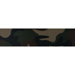 1 1/2 Inch Woodland Camo Polyester Webbing Closeout