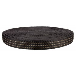 1 Inch Black with Chocolate Stripes Heavy Polypro Webbing Closeout