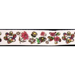 1 Inch Spring Time Flowers and Paws Cotton Ribbon - Various Lengths
