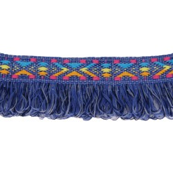 1 1/2 Inch Denim with Frills Woven Jacquard Braid Ribbon