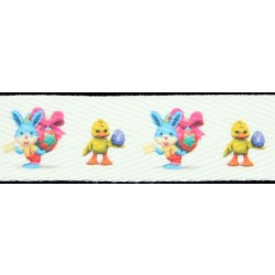 1 Inch Easter Bunnies & Ducks Cotton Ribbon - Various Lengths